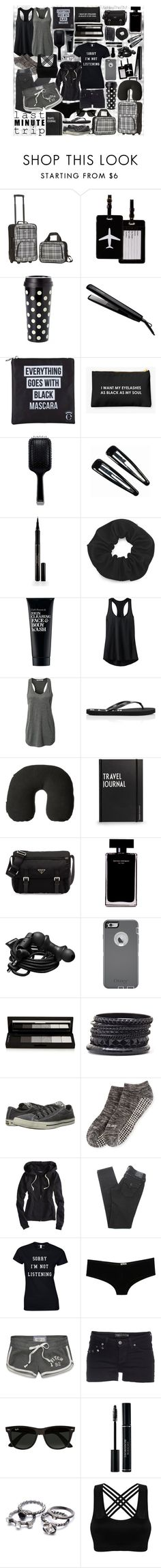 """last MINUTE trip"" by ashleythesm ❤ liked on Polyvore featuring Rockland Luggage, TravelSmith, Kate Spade, José Eber, Eyeko, GHD, Clips, Elizabeth Arden, Clark's Botanicals and Athleta"