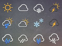 Dribbble - Weather Icon Set by Ali Sisk Flat Design, Ui Design, Icon Design, Graphic Design, Ui Buttons, Weather Icons, Information Design, Ui Elements