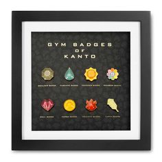 Official Kanto premium 8-badge set includes Boulder Cascade Earth Marsh Rainbow Soul Thunder and Volcano Gym badges and wooden frame.