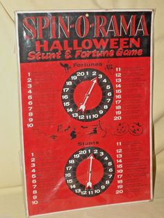 Beistle Game Spin O Rama Halloween Stunt Fortune Spinning Spinner Vintage USA