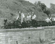 Walt transports passengers on the Carolwood Pacific.