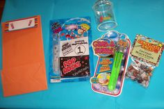 take home bags  Pop Rocks Edible science experiment,found at Party City.   Test tube bubbles were from Dollar Tree.   Bug jars with a magnifying top are from Oriental Trading Co.   Inside I place three sponge capsules to grow when placed in water.  Package of chocolate rocks.