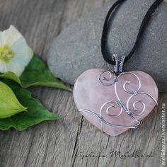 Кулон серебро , Розовый кварц - бледно-розовый,розовый кварц,розовый,серебро