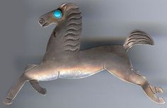 UITA VINTAGE NAVAJO INDIAN STERLING SILVER TURQUOISE EYE HAPPY RUNNING HORSE PIN