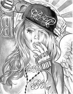 girl more boog tattoo girls chicano tattoos chicano girl chicano art . Art Chicano, Chicano Art Tattoos, Chicano Drawings, Cholo Art, Gangsta Tattoos, Body Art Tattoos, Girl Tattoos, Sleeve Tattoos, Tattoo Girls