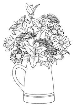 컬러링 도안 / 컬러링북 / 어른 색칠공부 / 어려운 색칠공부 / 꽃 / 부케 이제 좀 있으면 입춘이다 뭐다 봄... Detailed Coloring Pages, Cute Coloring Pages, Flower Coloring Pages, Adult Coloring Pages, Coloring Books, Wildflower Drawing, Drawing Sheet, Floral Embroidery Patterns, Floral Drawing