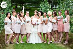 Bridesmaids & their Just Bowtiful NELLE Clutches in Dove Grey. Photo by Megan Norman Photography