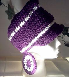 Crochet Newsboy Hat & Earrings by CreationsbyLaya on Etsy, $25.00