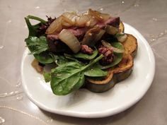 Roasted Venison Tenderloin with a Winter Salad over Roasted Acorn Squash