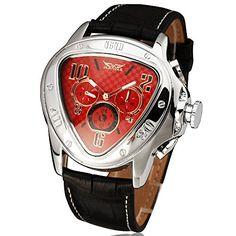 Winner Herren mechanische Armbanduhr mit Automatik-Uhrwerk, mit Lederband, dreieckiges Ziffernblatt - http://uhr.haus/jaragar/winner-herren-casual-automatische-mechanische-2