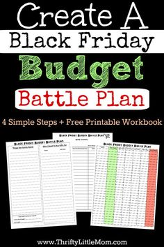 Create a Black Friday Budget Battle Plan.  Organize your gift list, your personal list, set a budget and make a shopping plan all with this simple FREE Black Friday Budget Battle Plan printable workbook (3 pages).