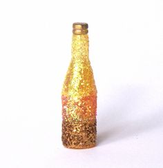Decorative Rainbow Miniature Bottle gold/yellow for your Dollhouse by DinkyWorld at Etsy
