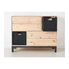 NORNÄS Commode 4 tiroirs/2 compartiments IKEA En bois massif, un matériau naturel et résistant à l'usure.