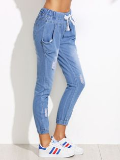 SheIn offers Blue Ripped Drawstring Waist Jeans & more to fit your fashionable needs. White Ripped Jeans, White Distressed Jeans, Cropped Skinny Jeans, Fashion Mode, Denim Fashion, Fashion Pants, Fashion Outfits, Nordstrom Jeans, Casual Outfits