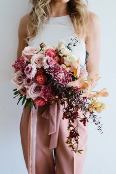 blush, peach and burgundy bridal bouquet    #blush #unstructured #bouquet