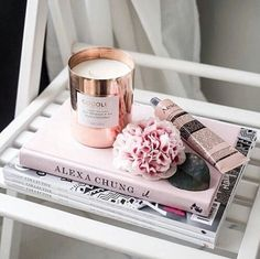 Image de book, pink, and candle