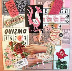 Vintage Mini Pink Ephemera Pack by ScrappyBird on Etsy