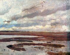 Żurawie, pejzaż z łąką - Józef Chełmoński (1905)