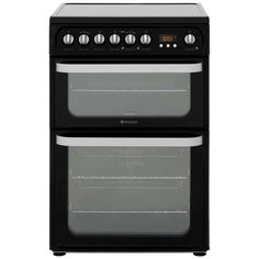 Hotpoint Ultima HUE61KS Electric Cooker with Ceramic Hob - Black