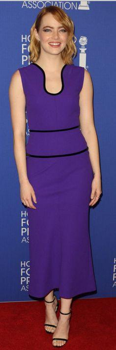 Emma Watson: Dress – Roland Mouret  Shoes – Stuart Weitzman