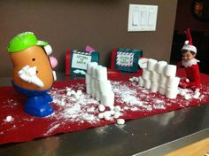 funny elf on the shelf pics | Snowball fight! | Our Elf on the Shelf Fun