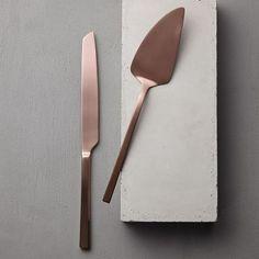 Rose Gold Cake Knife Serveware, Set of 2 | west elm