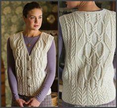 "Женская ты искал ""Tree of Life"". Tree of Life Aran Vest by Anne Carroll Gilmour. Crochet Cardigan Pattern, Knit Crochet, Crochet Vests, Free Aran Knitting Patterns, Knit Vest, Cable Knit Sweaters, Womens Fashion, Vest Coat, Winter Time"