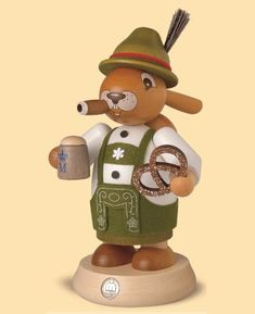 German incense smoker Easter bunny Bavarian, height 18 cm / 7 inch, original Erzgebirge by Mueller Seiffen German Christmas Decorations, Christmas Ornaments, Granny Love, Nutcracker Christmas, Vintage Easter, Wood Turning, Easter Bunny, Planer, Carving