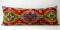 Handmade Long Silk Velvet Ikat Pillow Cover,15x36 inch, via Etsy.