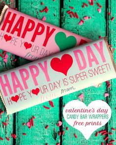 Adorable Valentine's Day Candy Bar Wrappers --  Free download  #valetines | DIY Wrappers by lilluna.com