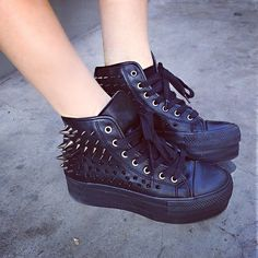 Spiked leather sneakers