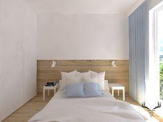 Sypialnia w drewnie i bieli. Minimalistyczna sypialnia, czysta forma. Bed, Furniture, Design, Home Decor, Houses, Decoration Home, Stream Bed, Room Decor