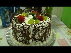Aprenda a fazer bolo de Frutas e Decoração com Chocolate. - YouTube