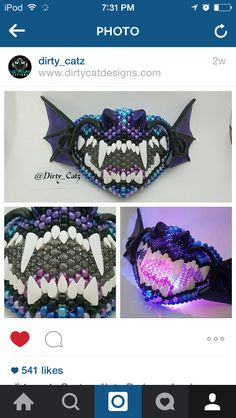 Light up kandi mask Kandi Mask Patterns, Forest Crafts, Kandi Bracelets, Rave Girls, Music Festival Outfits, Cosplay Characters, Cosplay Makeup, Raves, Pony Beads