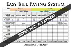 Super easy bill paying system to keep your expenses organized and never miss a payment. Streamline your process to pay bills 2 times a month Use the record as a base for making a new budget. Budget Spreadsheet, Budget Binder, Excel Budget, Monthly Budget, Budget Planner, Money Tips, Money Saving Tips, Time Saving, Saving Ideas