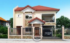 Contemporary House Plans Featuring Florante Model is a 4 bedroom with 3 toilet and bath 2 story house to fit perfectly on a 211 sq. Narrow Lot House Plans, Two Story House Plans, Cabin House Plans, House Outside Design, House Front Design, Modern House Design, Two Story House Design, 2 Storey House Design, Contemporary House Plans