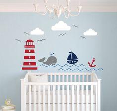 Thème nautique autocollant sticker mural de chambre de bébé