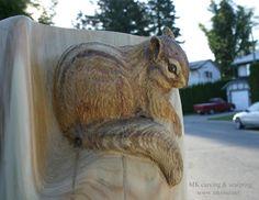 Woodcarving Carved Door Sculpture by MK Carving Canada / / Chipmunk woodcarving Tree Carving, Wood Carving Art, Wood Carvings, Chainsaw Carvings, Art Carved, Carved Door, Wood Sculpture, Sculpture Ideas, Metal Sculptures