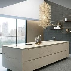 Class up your countertop! @caesarstoneus 's color, Statuario Nuvo, looks just as stunning as Italian marble but with the durability of #Caesarstone quartz. Link via our bio!