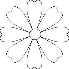 Flower Daisy 8 petal template by BAJ - A flower that could be a daisy or other simple 8 petal flower. It is made from a 8 petal symmetrical ...
