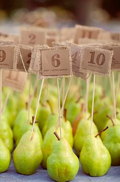 burlap squares and kraft paper table numbers