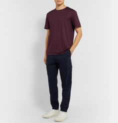 Theory Clean Slim-fit Silk And Cotton-blend Jersey T-shirt In Burgundy Tone Words, Theory Clothing, Beige Chinos, Veja Sneakers, Blue Denim, Burgundy, Trousers, Normcore, Slim