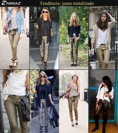 Em breve, teremos o lançamento da coleção outono inverno 2013 da Fargaz Jeans! Mas, enquanto isso, que tal conferir uma das tendências que estará presente nas nossas novidades para a estação?    O jeans metálico com aplicação de foil é uma das novidades que estará em alta no jeans feminino da próxima temporada.