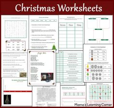 13-page Christmas Worksheet Packet for 1st-3rd Graders - history of the Christmas tree timeline, word search, crossword, Christmas-themed word problems, Christmas adjectives, and more!