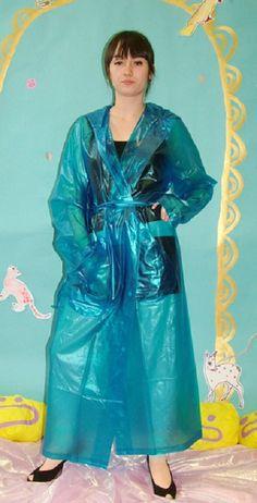 Blue Raincoat, Pvc Raincoat, Plastic Raincoat, Plastic Mac, Rain Coats, Macs, Rain Wear, Older Women, Rain Jacket