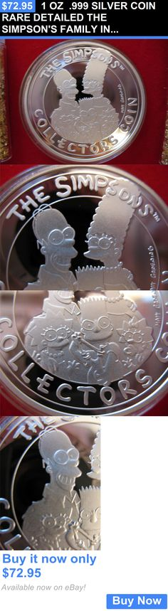 Bullion: 1 Oz .999 Silver Coin Rare Detailed The Simpsons Family In Gift Box +Gold BUY IT NOW ONLY: $72.95