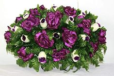 XL Beautiful Spring Mixture Cemetery Tombstone Saddle Arrangement by Crazyboutdeco on Etsy Hot Pink Roses, White Roses, Beautiful Flower Arrangements, Floral Arrangements, Real Flowers, Paper Flowers, Cemetery Decorations, Cemetery Flowers, Sympathy Flowers