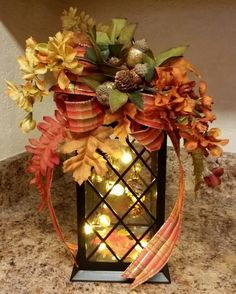 Fall Lantern Swag,Fall Flowers Lantern Swag, Fall Leaf Lantern Swag, Lantern Swag, Thanksgiving Swag by SouthTXCreations on Etsy by stacy Fall Lanterns, Christmas Lanterns, Lanterns Decor, Fall Lantern Centerpieces, Diy Christmas, Diy Projects For Fall, Fall Crafts, Holiday Crafts, Table Halloween