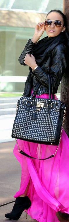 Black and Fuschia #leather #hotpink #fashion