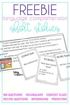 Grab a free printable resource to work on language comprehension in your speech therapy or kindergar Comprehension Activities, Speech Therapy Activities, Speech Language Pathology, Language Activities, Speech And Language, Reading Comprehension, Articulation Activities, Listening Activities, Phonics